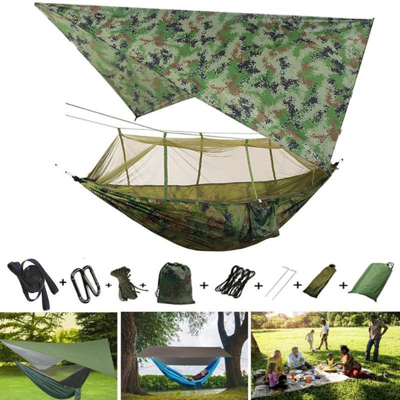 Outdoor-Camping Wasserdichte Anti-Mosquito Hammock + Sky-Schirm Canopy Hammock Wildes Camping Luftschaukel Beherbergungs