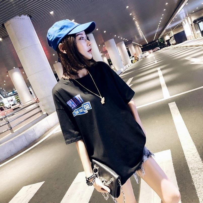 Été T-shirt femmes Harajuku coréenne style Lettre T-shirts imprimés en vrac noir à manches courtes T-shirt long Camiseta Mujer
