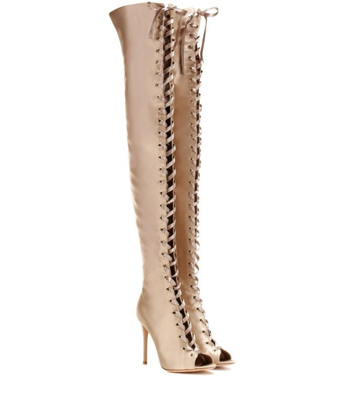 Peep Glod Toe Satin Over Knee Cross-tied Women Boots Sexy Stiletto Heel Lace Up Thigh High Boots New Long Back Zipper 2020