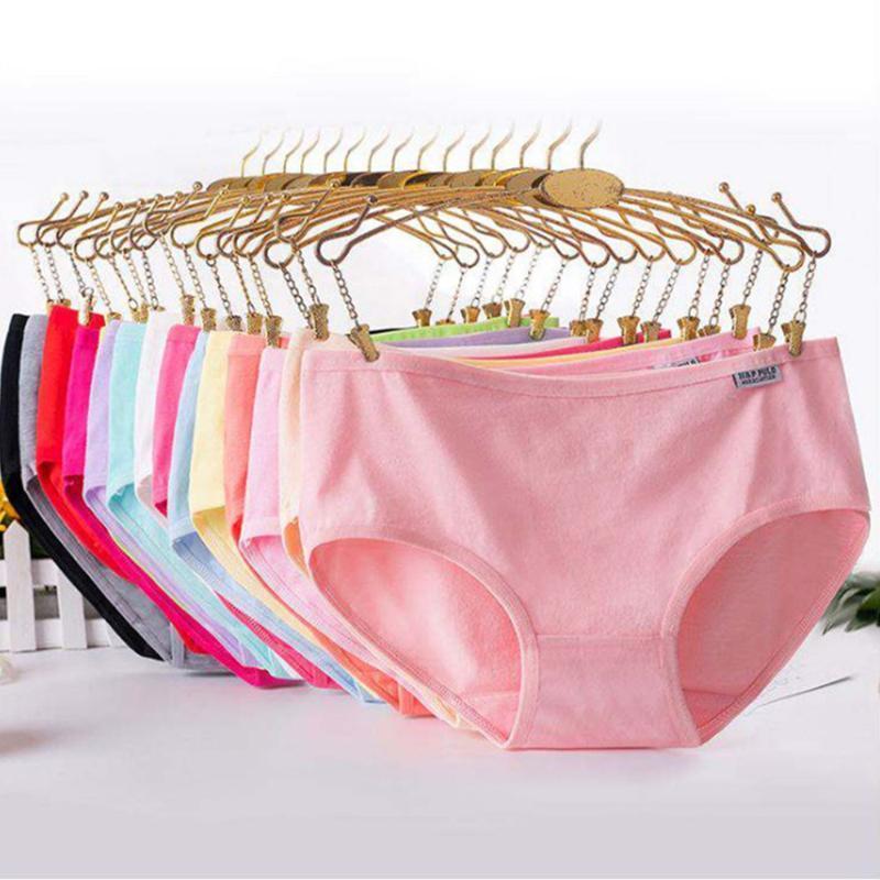 Women Solid Color Pure Cotton Panties Underpants Underwear Seamless Briefs UK