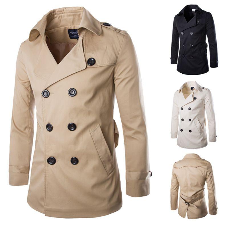 Çinli Boyut M-XXL İngiltere Britanya Stil Erkekler Haki Palto Ceket Uzun Kollu Ceket Çift Breasted Trençkot Abrigo Hombre