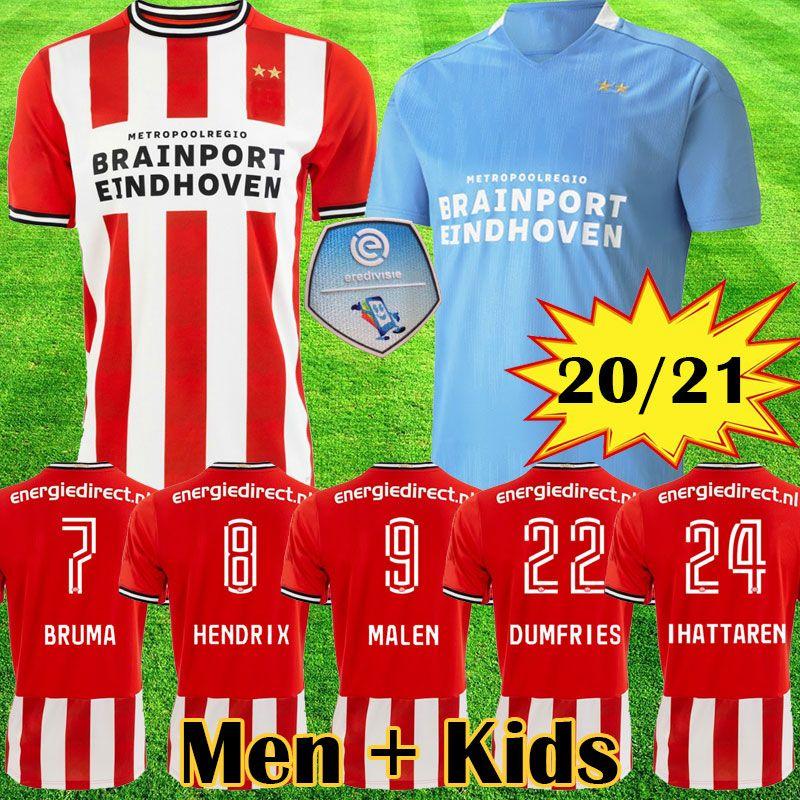 2020 2021 camisetas de fútbol 20 21 EINDHOVEN MALEN camisa de futebol IHATTAREN DUMFRIES GAKPO BRUMA LAMMERS hombres niños kits camiseta de fútbol
