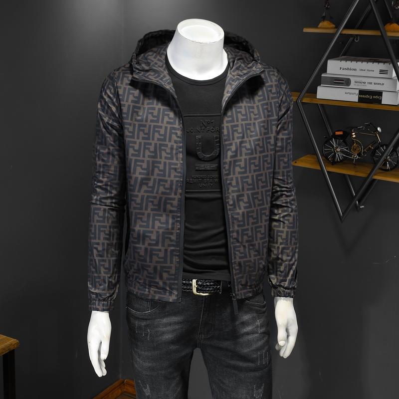 Vérifiez l'impression veste jeunes hommes mince style coréen capuchon marque à la mode de la mode des hommes de veste décontractée, plus la taille des vêtements