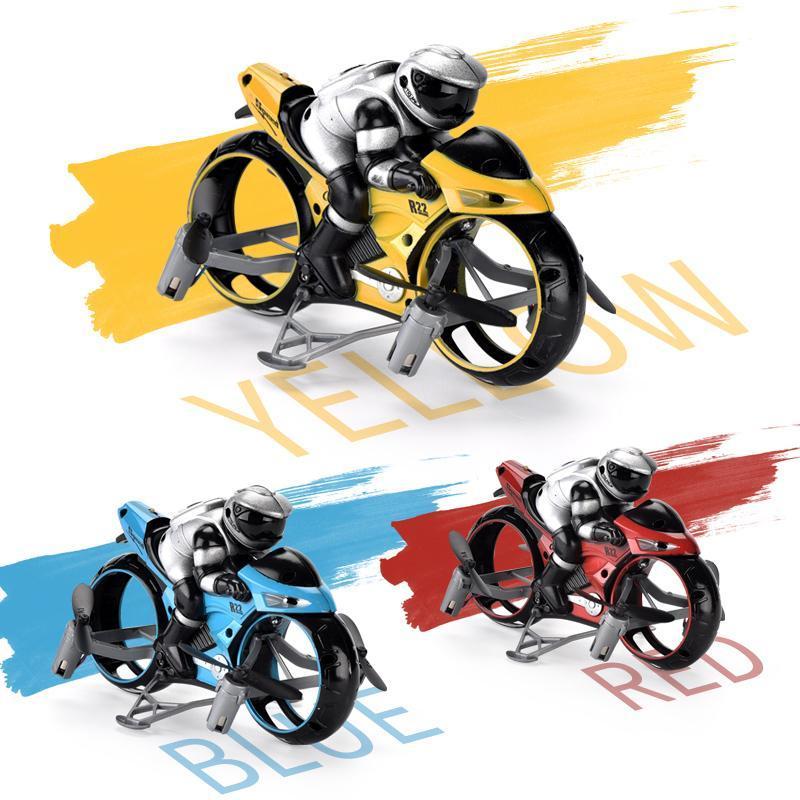 2.4G RC Land-aria per moto 2In1 Mini volante del motociclo dell'automobile di telecomando ad alta velocità di deriva motocicletta del modello con la luce Kids Toy 03