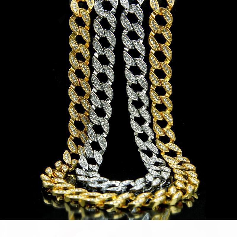 D buzlu Out Zinciri Hip Hop Bling Zincirler Takı Erkekler Rhinestone Kristal Altın Gümüş Miami Küba Bağlantı Zinciri Kolye