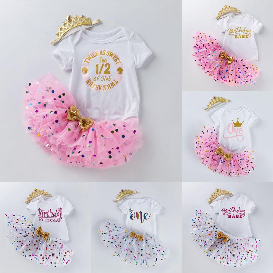 아기 투투 도트 스커트 + 편지 인쇄 Romper + 크라운 머리띠 3pcs / 세트 소녀 생일 사진 드레스 키즈 공주 파티 Clothe M2449