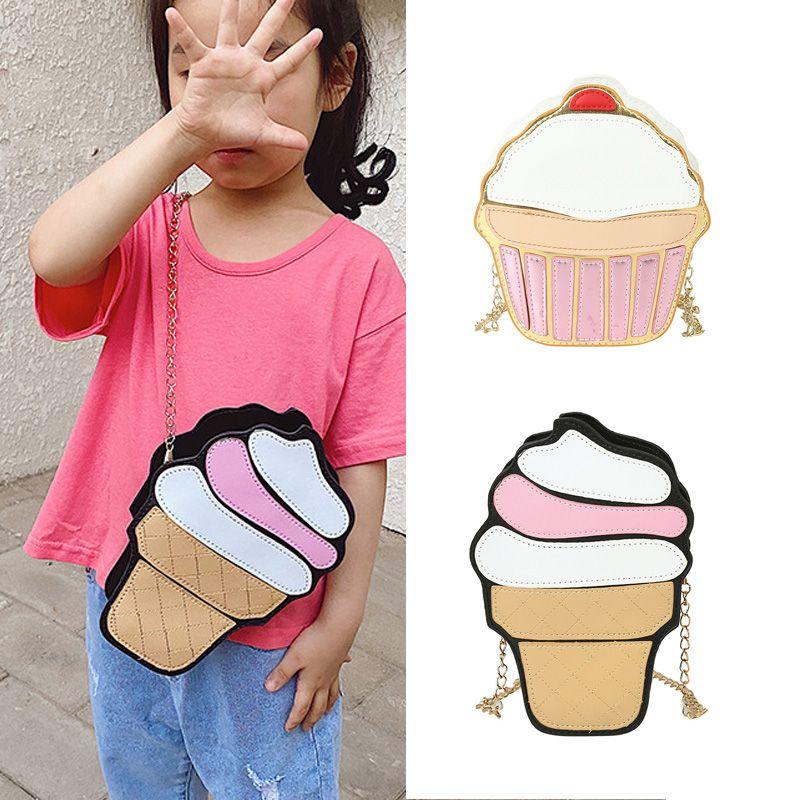 Niños Pequeños bolso de cuero de 2020 nuevo de Kawaii de la torta de hielo de la moneda Crema niños bolsa de la carpeta partido de la caja monedero niñas Cruzado Bolsas