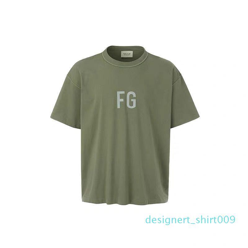 shirt do desenhista das mulheres dos homens Camisa Kanye West FEAR OF GOD FOG T-Shirt Essentials 3M reflexiva Hip Hop Streetwear Verão Tee Tops z564U