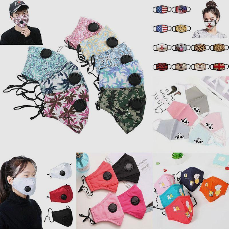 US-Stock-Modedesigner-Gesichtsmasken Ventil PM2.5 Karikatur Mundschutz Waschbar Reusble Baumwolle Schutz Erwachsene / Kinder-Gesichtsmasken FY9140