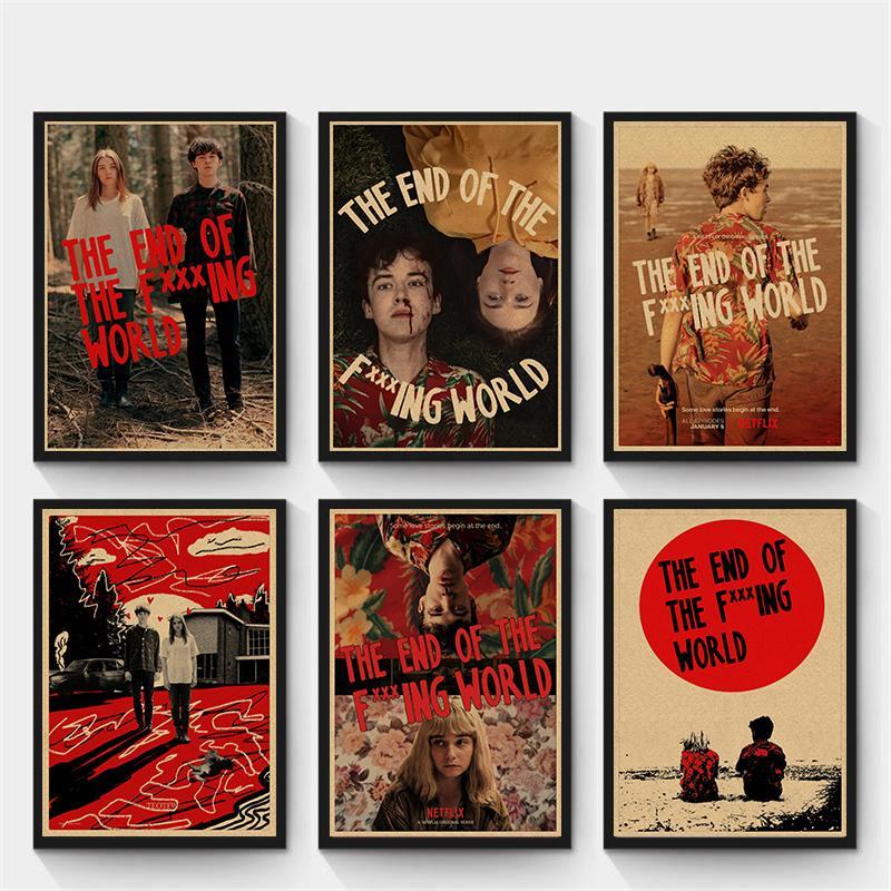 Lanet Dünya Retro poster, kraft kağıt afiş, ev dekorasyonu boyama, bağbozumu dekoratif duvar sticker 42 * 30cm Sonu