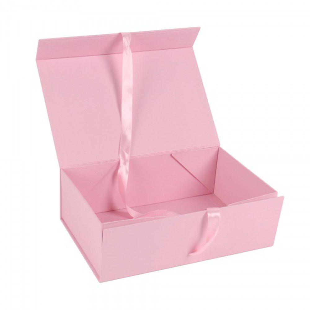 شعار مخصص فاخر كامل اللون المطبوعة من الورق المقوى التعبئة والتغليف الوردي المغناطيسي هدية مربع مع الشريط إغلاق بالجملة