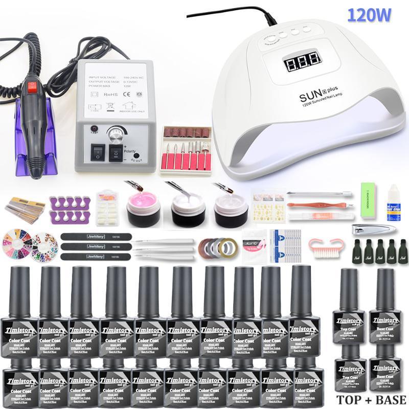 네일 아트 키트 20pcs 세트 젤 폴란드어 키트 120W UV LED 램프 건조기 20000RPM 전기 드릴 기계 매니큐어 도구에 대 한