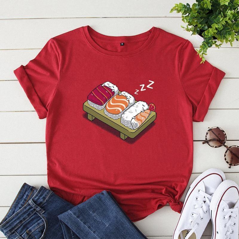 Мультфильм Графический Тис Женщины 2020 Новый суши печати Футболка 100% хлопок рубашка с коротким рукавом Крупногабаритные Femme Harajuku Лучшие Смешные Tshirts Movie l2V8 #