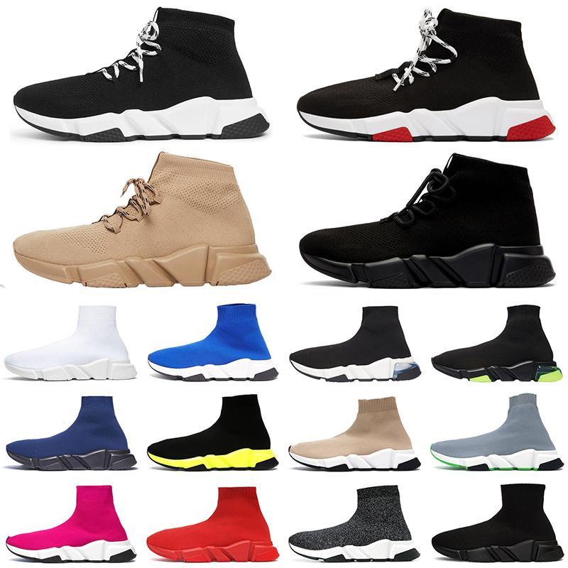 Новое поступление роскошные кроссовки скоростной тренер дизайнер мужчины женщины повседневная обувь черный белый зеленый блеск красный мода мужские носки обуви бегун