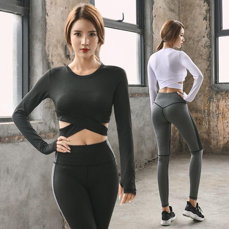 Conjuntos Cruz Yoga Sexy Mulheres Sportswear Halter Jersey Leggings apertado aptidão Sports Suit Yoga Set Treino para Mulheres