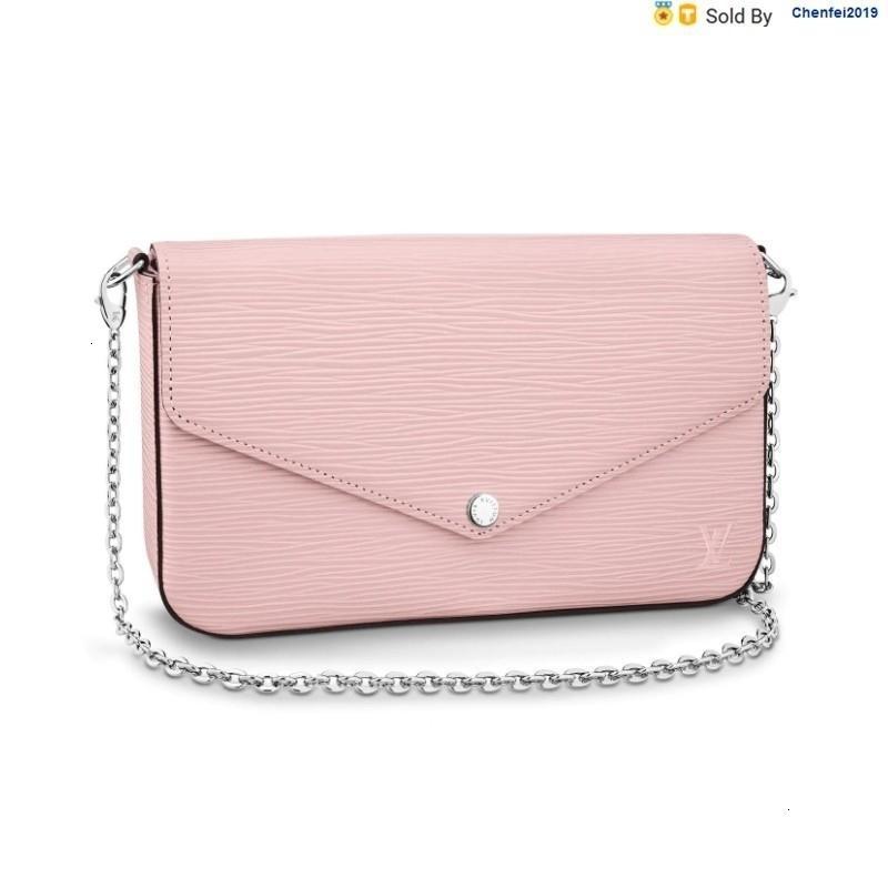 chenfei2019 MNBC Pochettefelicie Cherry Pink Chain Detachable Hand, Crossbody, One-shoulder Handbag M62467 Totes Handbags Shoulder Bags