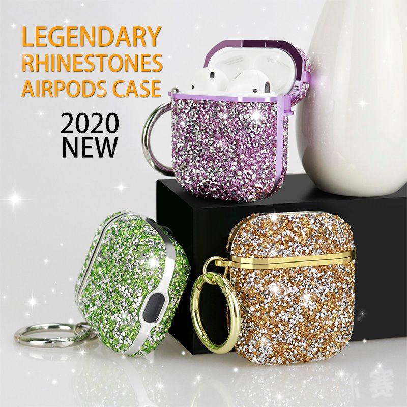 Алмазный Airpod чехол Bling наушников Полный протектор крышки наушники сумка для Apple, Bluetooth для беспроводной зарядки гарнитуры с розничной коробкой