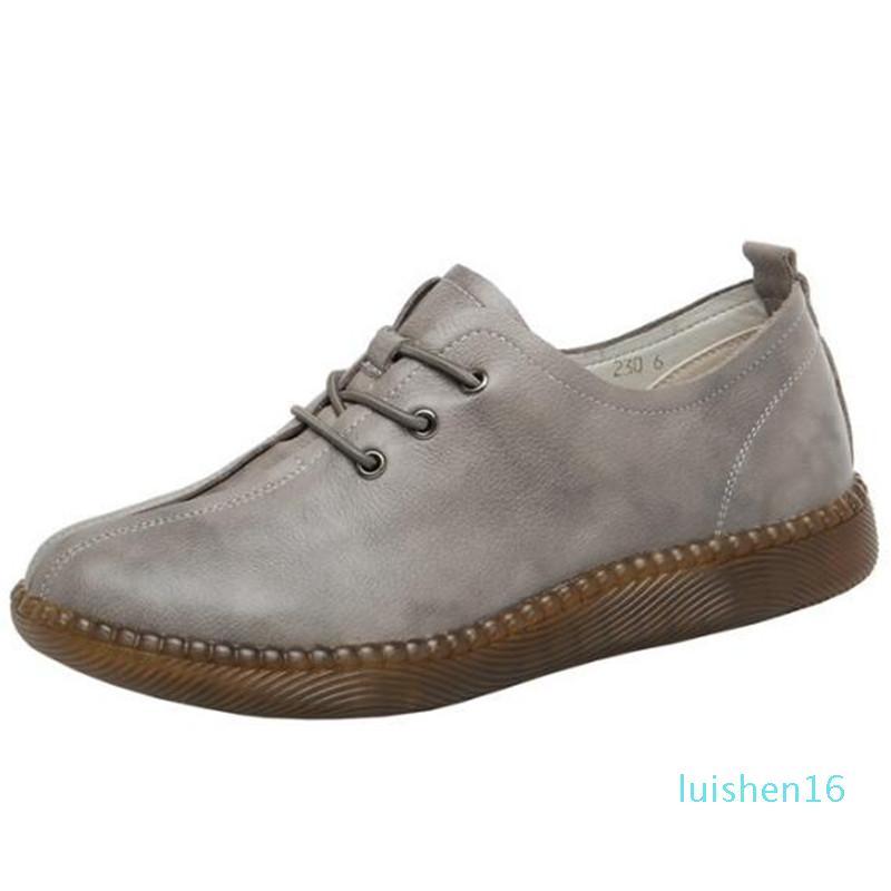 2020 Nouveau printemps à lacets souples Chaussures en cuir véritable Femmes Flats Confort chaud Chaussures d'hiver Chaussures Femmes Casual grande taille L16