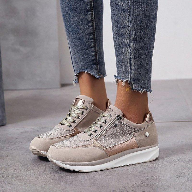 Scarpe Up Sneakers Platform Designer Schoenen Womens Casual Trainer Scarpe da uomo con cerniera laterale Crystal Abito di lusso Sport Tennis Fabewg