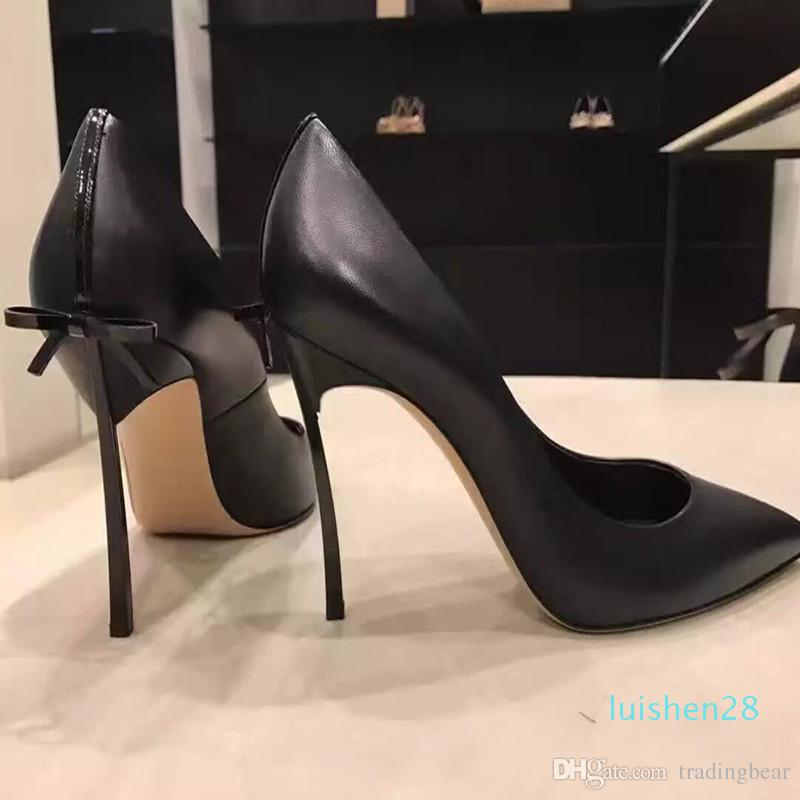 40 colors women pumps sexy designer shoes large size 33 34 to 40 41 42 43 elegant bowtie real leather high heels nude pink l29