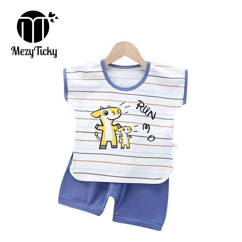 2020 2шт набор детей лета с коротким рукавом рубашки Одежда наборы Дети Мальчики мультфильм Динозавр Одежда Малыш девочек хлопка костюмы