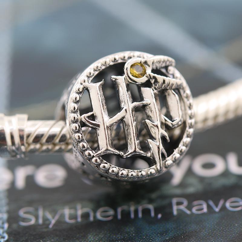 2020 Veröffentlichung S925 Sterling Silber Harry potter College-Logo Snitch wulstige Charm Perlen für europäische Pandora Armband-Halskette
