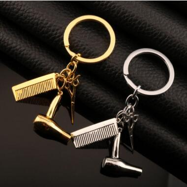 2 Colors Haircut Scissor Comb Hair Dryer Keychain Key Ring Charm silver Gold Plated Key Chain bag hangs Hair drier scissors combs Pendant