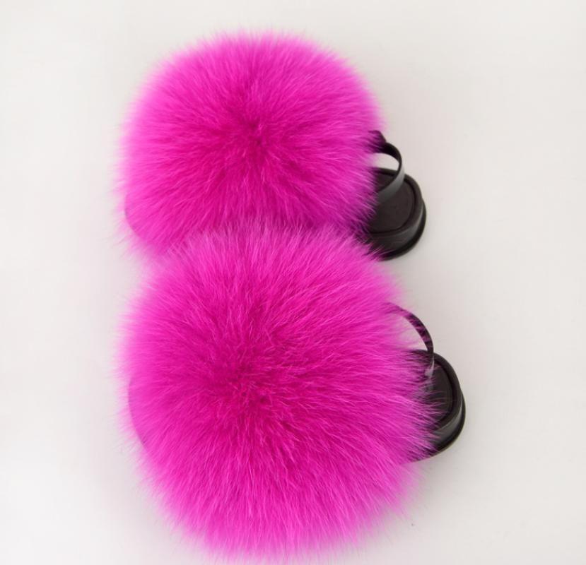 Kids Fur Slippers Fluffy Raccoon Fur