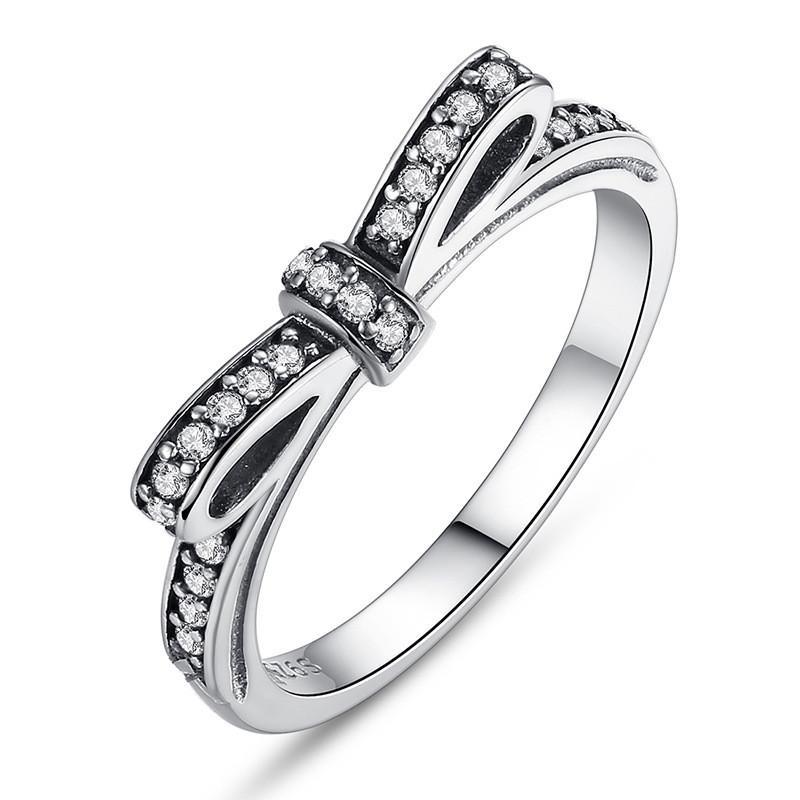 الفضة متألقة القوس عقدة تكويم الدائري باندورا نمط الشظية الاسترليني خواتم الزفاف مع ps0667 يوم علبة هدية عيد ميلاد المرأة الحب