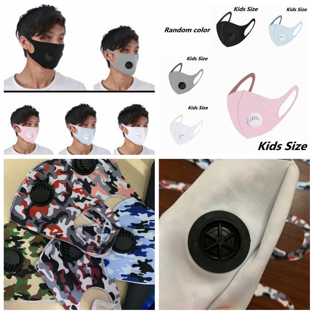 Unisex reutilizável Camouflage Respirar válvula Máscaras crianças adulto gelo seda Boca Máscara anti-poeira Anti Poluição pano máscara de pano Máscara LJJA4167