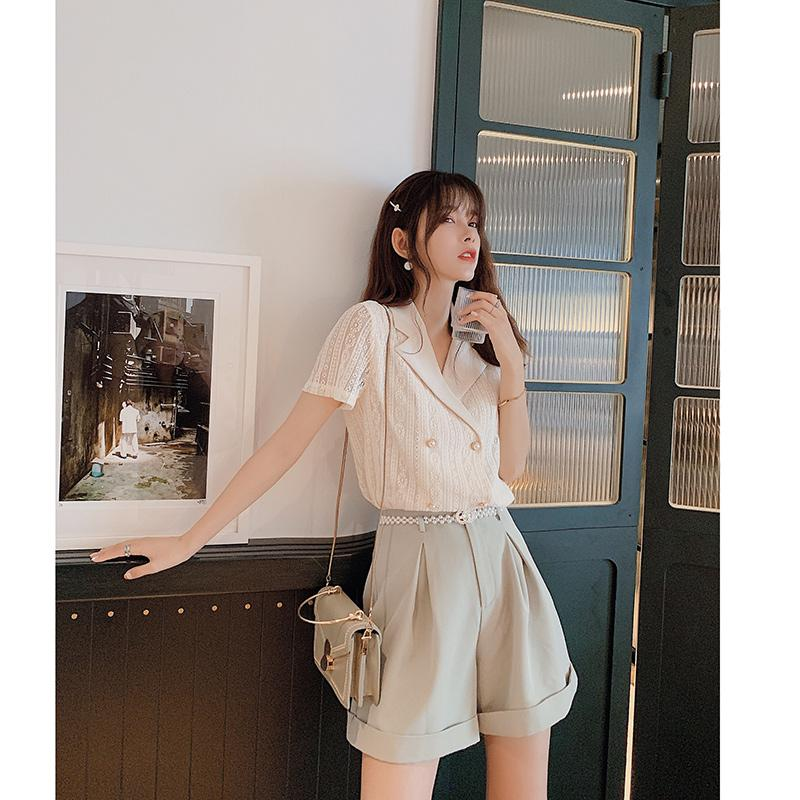 MiShow 2020 mujeres del verano de manga corta casuales estilo da vuelta-abajo doble de pecho sloose damas ajuste de oficinas camisa MX19B4766