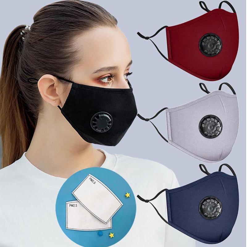 Maschera anti polvere Fronte Con valvola riutilizzabile lavabile PM2.5 Respirazione Filtri maschere di protezione bocca di cotone respiratore anti Con 2 Filtro