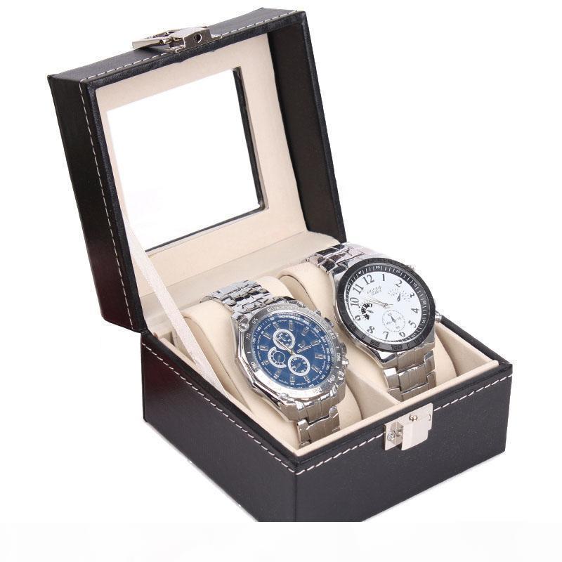 Роскошный черный кожаный PU ювелирные изделия Часы Дисплей коробки браслет держатель для хранения Организатор Case