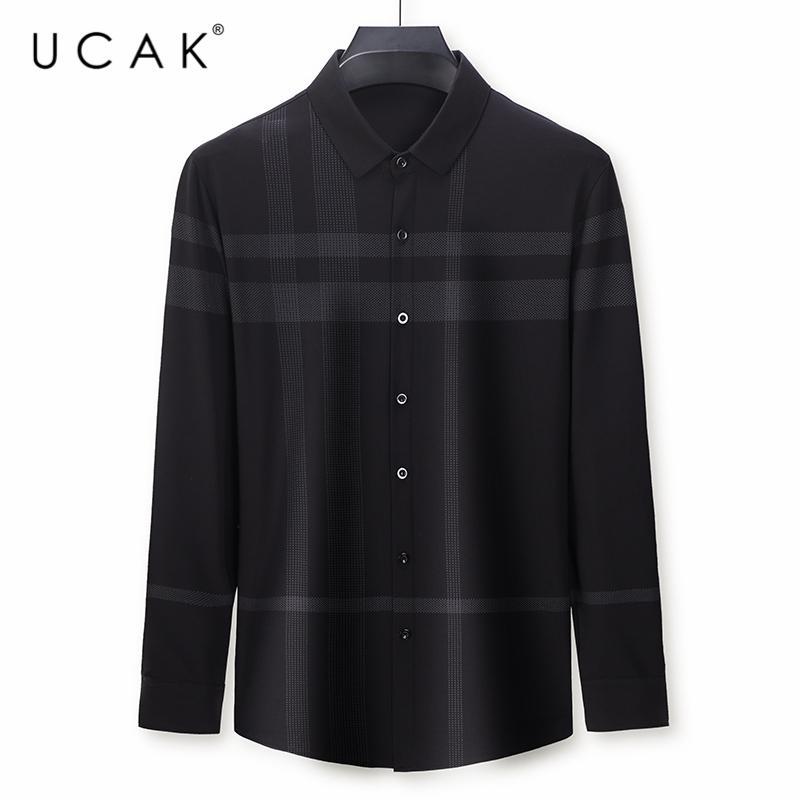 Uçak Marque manches longues Chemises hommes Vêtements turn-down col Streetwear shirt Pull Homme Printemps Automne Nouveau Vêtements rayé U6104