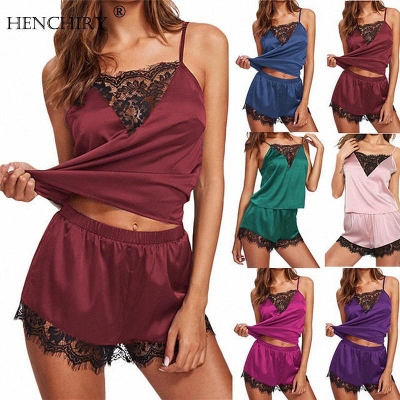HENCHIRY atractivo de las mujeres pijamas Set Homewear ropa de noche atractiva de las mujeres de encaje satinado floja ocasional camisón de dos piezas pijama conjunto ropa de dormir OARH #
