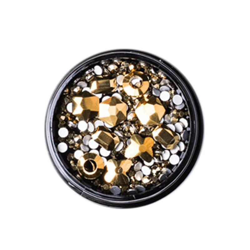1 Boîte mixte 3D Strass Nail Art Décorations Cristal Gems Bijoux Or Pierres Shiny Charm Verre Accessoires de manucure