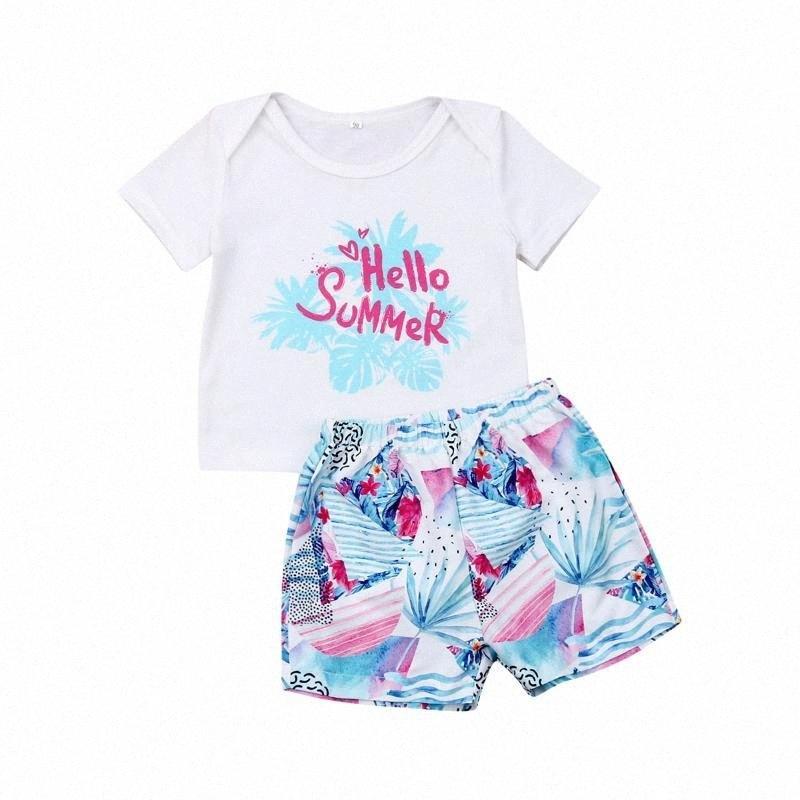 Летний Малыш Мальчик Девочка 6M-3T Одежда Праздники Пляж Печать футболки Короткие штаны 2Pcs Нижнее Повседневный Летняя одежда AAUs #