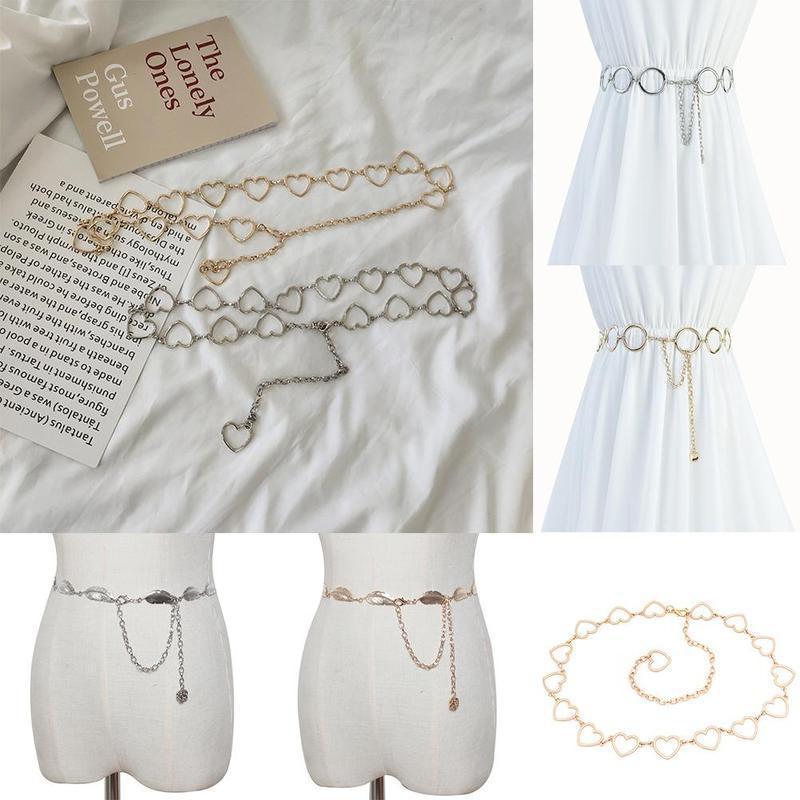 1 Stück neue Frauen-Blatt-Herz-förmige Bauchkette Wildes Metall Dekorative dünne Gurt-Kleid-Art- und Bauchkette