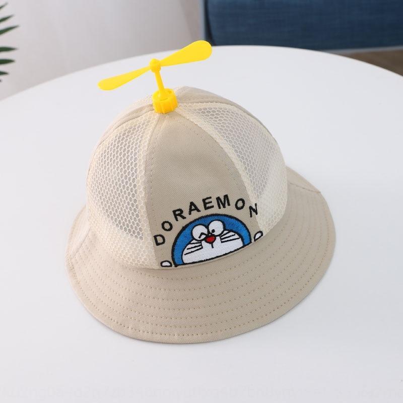 cartoni animati del cappello della benna del cappello della benna dei bambini Dingdang gatto protezione netta traspirante cappuccio pescatore piccolo protezione bambino mulino a vento del sole nuova moda