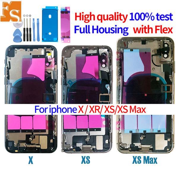 Mejor Calidad para iPhone 8 8PLUS x XR XS XS MAX MAX BACK VESTE MEDIO MEDIO DE CHASIS COMPLETO COMPLETO + PIEZAS DE PIEZAS DE PIEZAS COMPLETAS Puerta de la cubierta de la batería