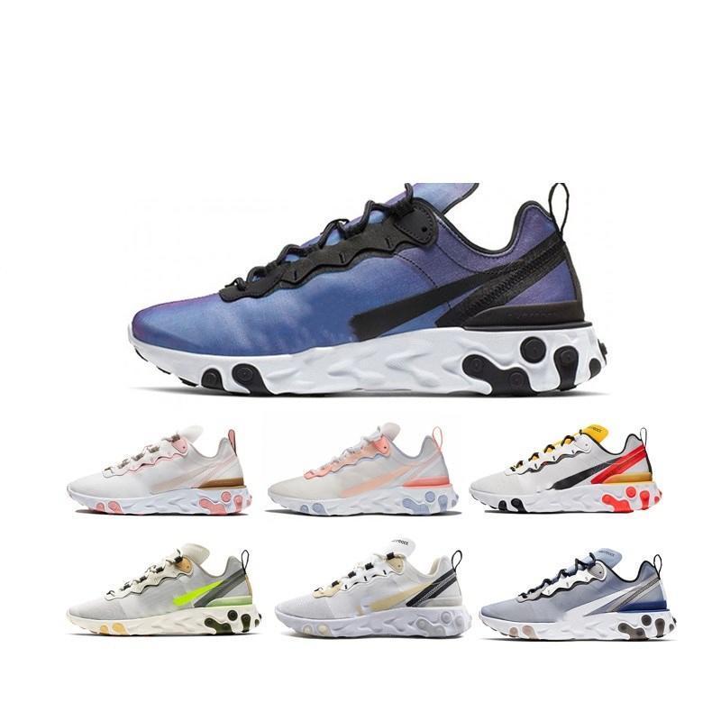 2020 Reaccionar Elemento 87 55 Paquete de las zapatillas de deporte blanca Hombres Mujeres Hombres Mujeres Trainer Acolchonadas zapatos corrientes Zapatos Nueva Zd79 # correr