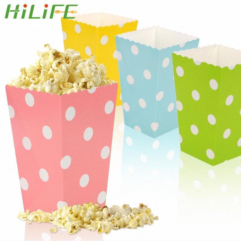 HILIFE Şeker Popcorn Sanck Kutuları Yuvarlak Nokta Desen Yılbaşı Hediyeleri Kutu bulaşığı Düğün Doğum Sinema Parti zz7P # Malzemeleri