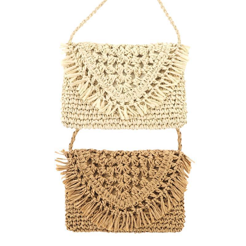 2020 Women Paper Rope Hand-Woven Tassel Shoulder Bags Girls Straw Casual Beach Crossbody Messenger Flap Bags
