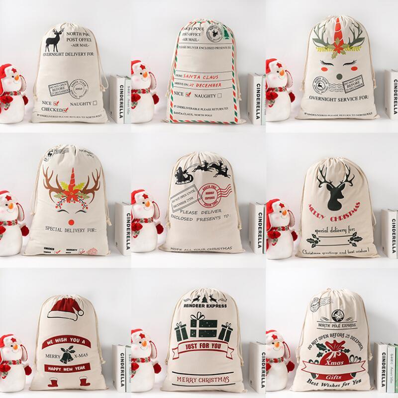 Noel Hediye Çantaları Santa Çuvallar Monogramable Santa Çuval İpli Çanta Santa Claus Geyik 9 Tasarımlar Toplu Stokta LX2497