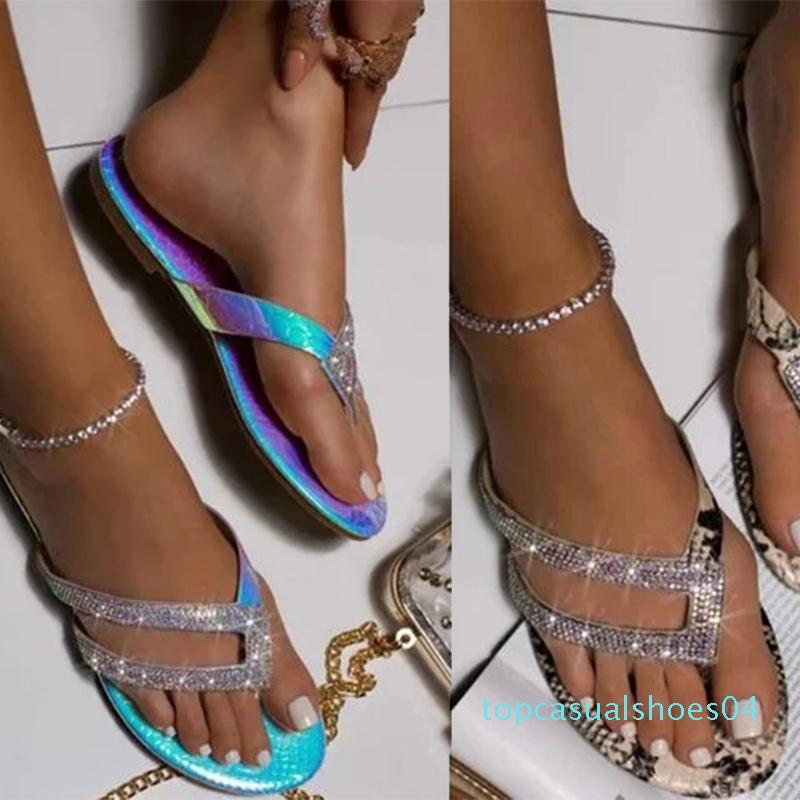 Sommer-Flipflops Frauen glänzende Kristallschuhe Leopard Flache Sandalen Strand Pantoffeln Weiblich t0420 Zapatos De Mujer Big Size 34-44 t04