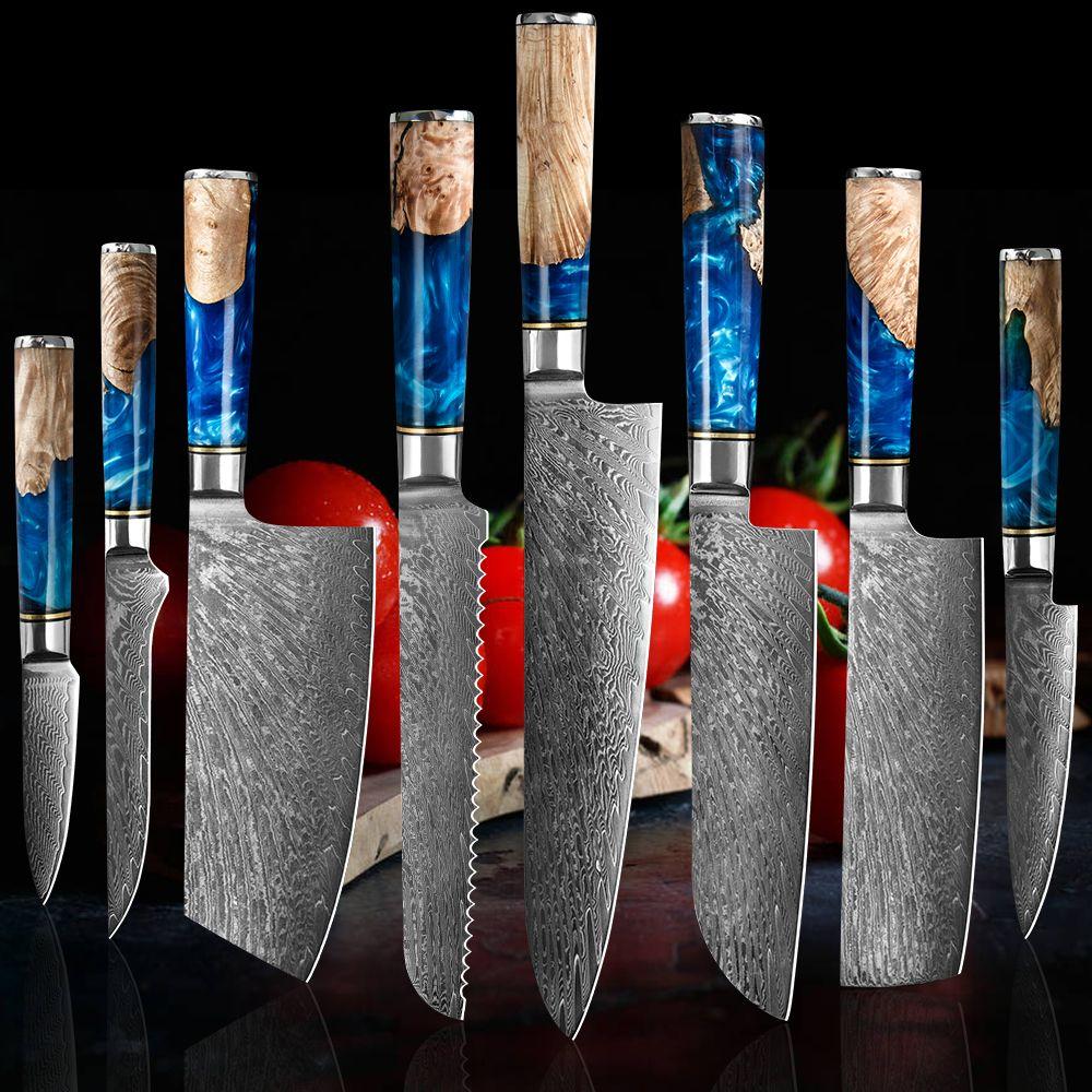 طاه سكين الفولاذ دمشق 67 طبقة VG10 المهنية سكين حاد الياباني الساطور التقطيع Kiritsuke Gyuto سكين مطبخ مستقرة الخشب الصلب هكتار