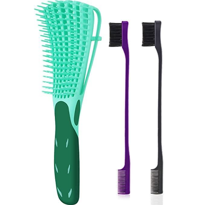 3Pieces Detangling Pinsel-Set mit Edge-Brus, Hair Detangler für Afro America Strukturierter 3a bis 4c verworrene Wellenförmige für Wet / Dry / Gesamt Th