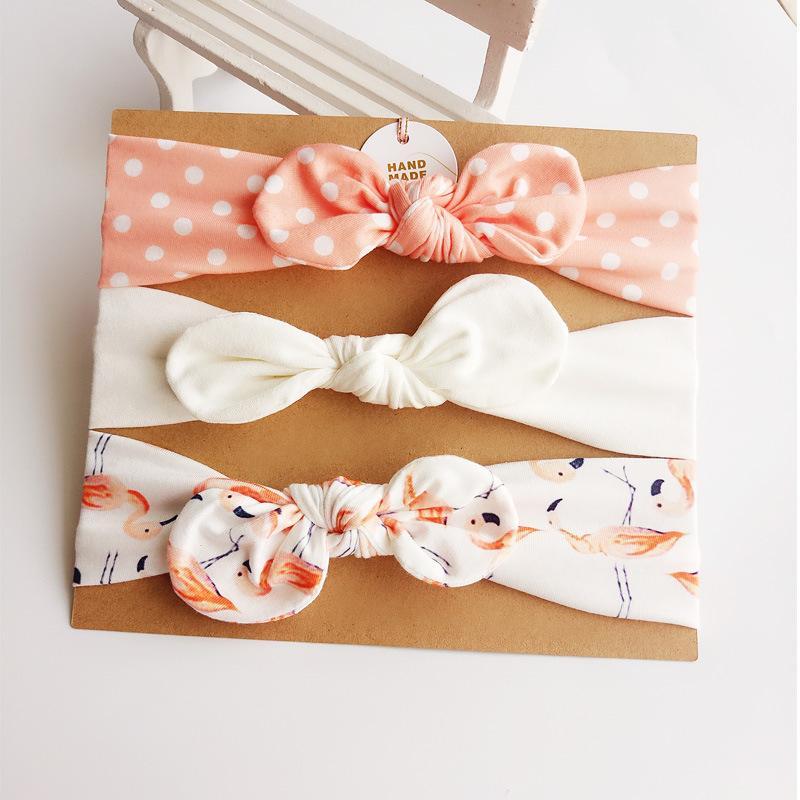 Arcos linda chica con nudos Accesorios vendas del bebé recién nacido del pelo de regalo con cartón Summer Set 3pcs / muchacha floral diadema turbante