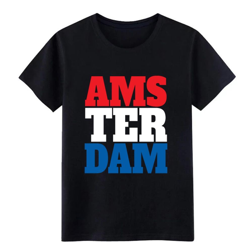 Amsterdam bayrak hollanda hediye yılbaşı özel t shirt erkeklerin% 100 pamuk Mürettebat Boyun Ünlü Nefes İlkbahar Sonbahar tshirt