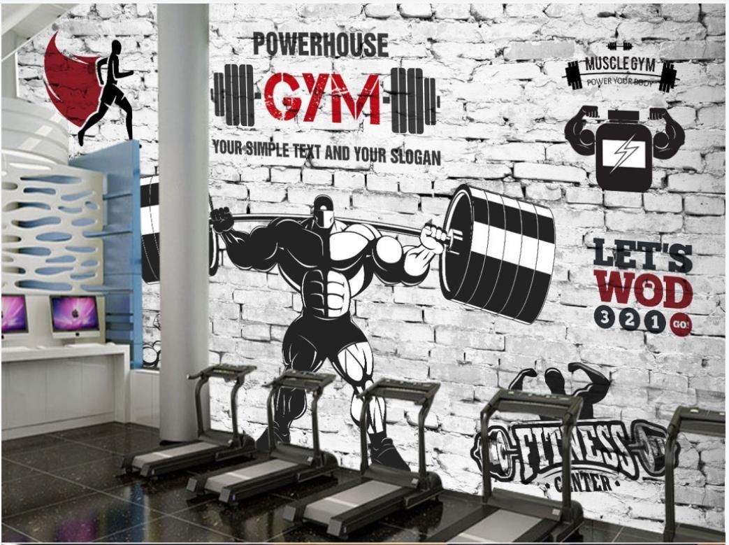 fondos de pantalla con foto personalizada para paredes 3d Papel pintado mural nostálgico retro del club gimnasio de deportes de pesas fondo mural de papeles de pared decorativo